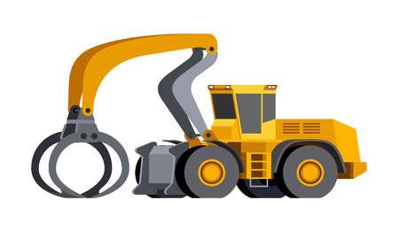 Minimalistic icon log handler front side view. Log handler high-lift vehicle for working at saw mill or lumber yard. Modern vector isolated illustration.