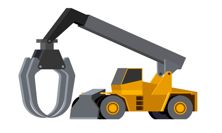 Minimalistic icon log stacker front side view. Heavy weight loader vehicle for working at saw mill or lumber yard. Modern vector isolated illustration. Иллюстрация