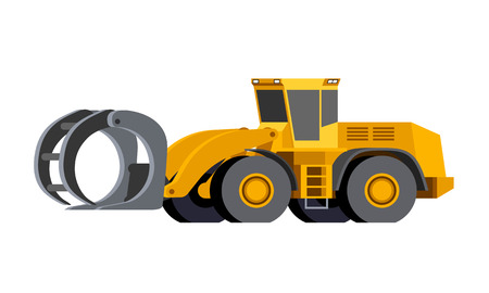 Minimalistic icon log handler front side view. Log handler for working at saw mill or lumber yard. Modern vector isolated illustration.