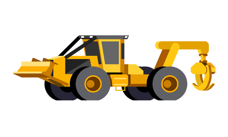 Minimalistic icon wheeled skidder front side view. Grapple skidder vehicle. Modern vector isolated illustration. Фото со стока - 103752020