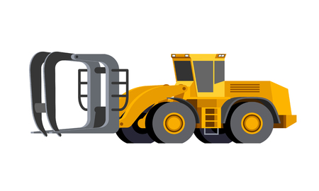 Minimalistic icon timber handling wheel loader front side view. Unloader logs vehicle for working at saw mill or lumber yard. Modern vector isolated illustration. Иллюстрация