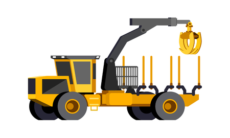 Minimalistic icon wheeled timber truck front side view. Timber loader vehicle. Modern vector isolated illustration.