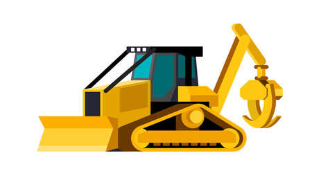 Minimalistic icon track skidder front side view. Grapple skidder tracked vehicle. Modern vector isolated illustration.