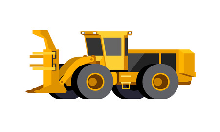 Minimalistic icon wheeled feller buncher front side view. Feller vehicle. Modern vector isolated illustration. Иллюстрация