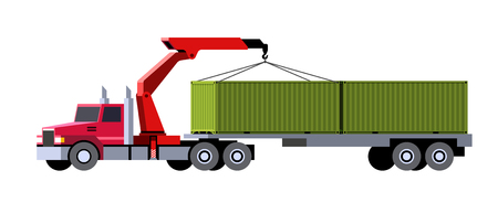 Minimalistic icon knuckleboom crane tractor truck with semi trailer containers. Front side view. Mobile crane vehicle. Vector isolated illustration.