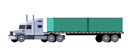 Minimalistic icon tractor truck with semi trailer containers. Front side view. Container vehicle. Vector isolated illustration.