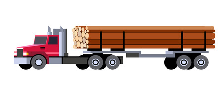 Minimalistic icon logging truck trailer with logs front side view. Logging tractor truck vehicle. Vector isolated illustration.
