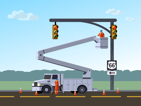 Bucket truck service electrician worker repair or reinstall traffic lights at highway. Aerial work bucket vehicle. Modern vector illustration. Illustration