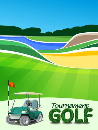 Golf tournament ticket or flyer brochure template. Golf course background mockup vector illustration