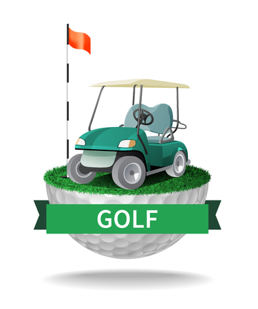 Golf cart on half golf ball with grass. Abstract isolated color vector illustration