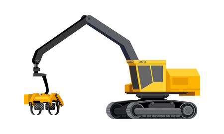 Minimalistic icon log harvester. Harvester vehicle for worknig at forest area for delimbing, cutting and sorting wood pile. Modern vector isolated illustration.