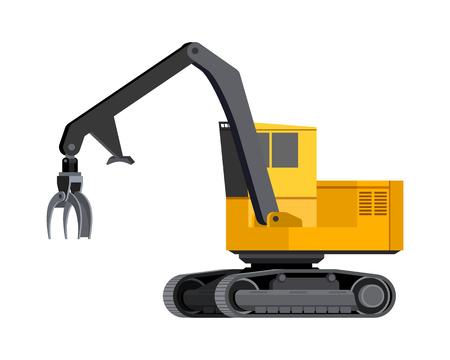 Cargador de registro de icono minimalista. Vehículo cargador de troncos con orugas para trabajo en el área forestal para clasificar y cargar pilas de madera. Ilustración aislada del vector moderno.