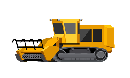 Minimalistic icon mulcher. Tracked stump mulcher vehicle for worknig at forest area. Modern vector isolated illustration.