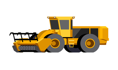 Minimalistic icon mulcher. Wheeled stump mulcher vehicle for worknig at forest area. Modern vector isolated illustration.