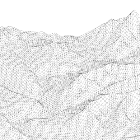 Abstract vector wireframe surface. Black and white polygonal mesh landscape. Vector illustration