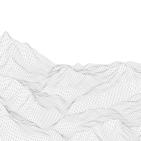 Abstract vector wireframe surface. Black and white polygonal mesh landscape. Vector illustration Фото со стока - 104001454