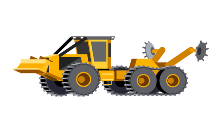 Minimalistic icon scarifier. Scarifier mounted on 6x6 articulated vehicle. Scarifiers are efficiently preparing the soil for planting. Modern vector isolated illustration. 向量圖像