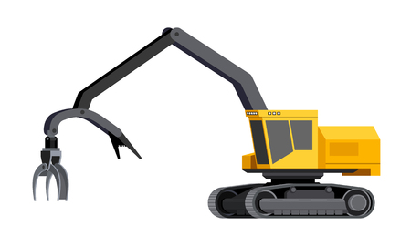 Minimalistic icon shovel loader. Tracked shovel log loader vehicle for worknig at forest area for sorting and loading wood pile. Modern vector isolated illustration.