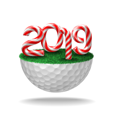 Candy cane numbers of 2019 new year holiday on half golf ball with grass. Vector isolated illustration on white background