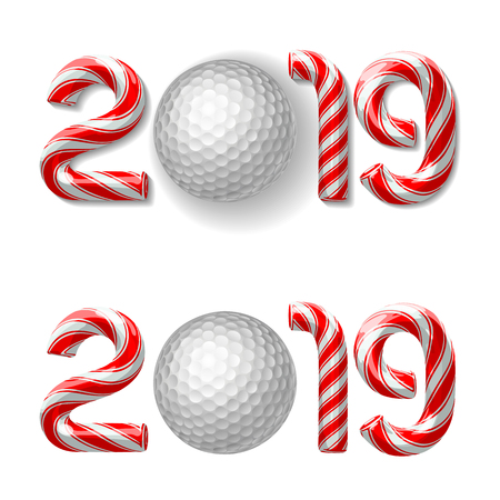 Golf ball with candy cane numbers of 2019 new year holiday on white background. Vector isolated illustration