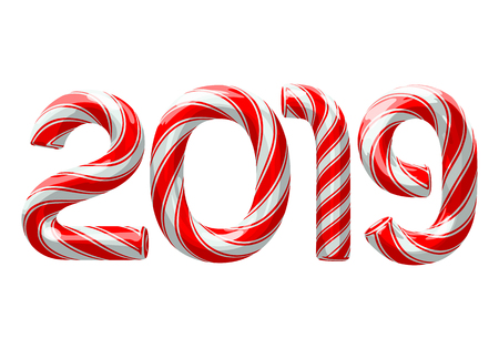 Candy cane numbers of 2019 new year holiday on white background. Vector isolated illustration