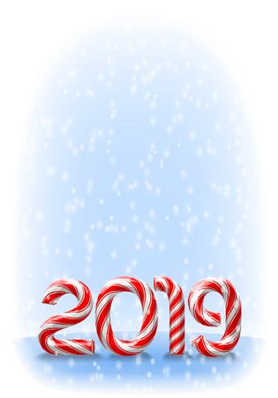 Candy cane numbers of 2019 new year holiday on snowy background. Vector illustration Stock Illustratie