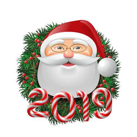 Santa Claus over evergreen holiday wreath decorated with red berries and candy cane number of 2019. Funny face in eyeglasses. Vector isolated illustration