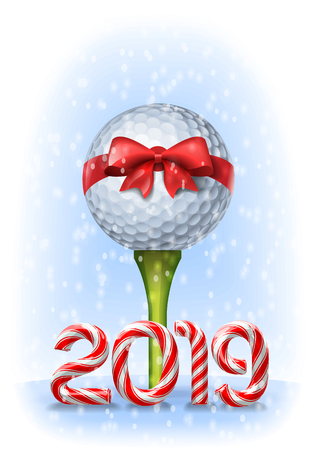 Golf ball tied with a red bow on tee with candy cane numbers of 2019 new year holiday. Vector illustration Stock Illustratie