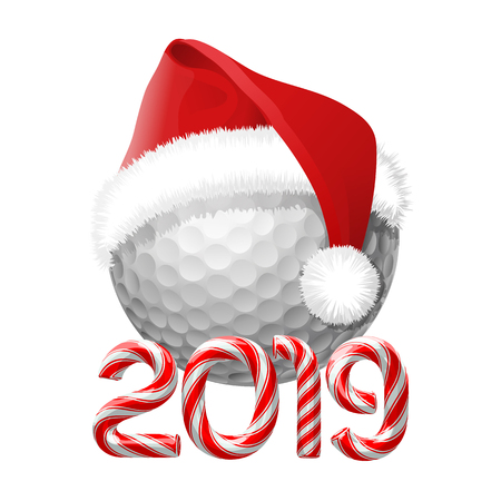 Golf ball with santa hat on it with candy cane numbers of 2019 new year holiday. Vector isolated illustration on white background Vettoriali
