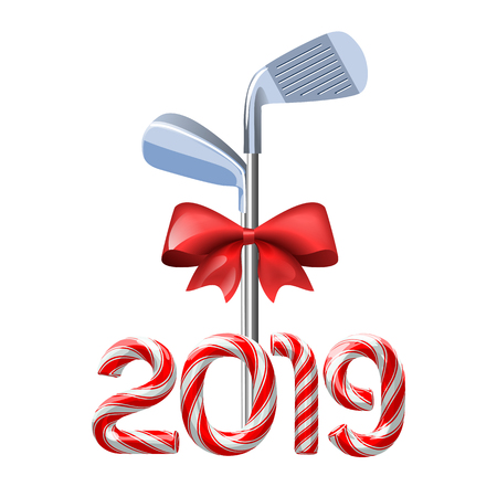 Golf irons tied with a red bow with candy cane numbers of 2019 new year holiday. Vector isolated illustration on white background