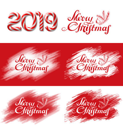 Merry Christmas text lettering with evergreen pine branch and candy cane number of 2019