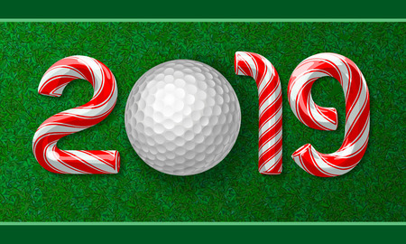 Golf ball with candy cane numbers of 2019 new year holiday on grass background. Vector illustration