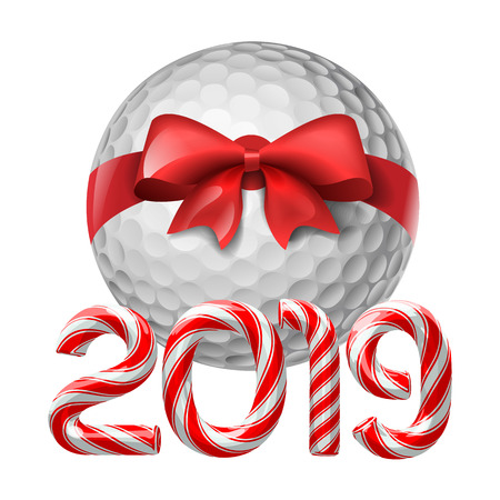 Golf ball tied with a red bow with candy cane numbers of 2019 new year holiday. Vector isolated illustration on white background