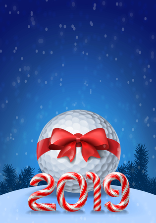 Golf ball tied with a red bow with candy cane numbers of 2019 new year holiday on blue snowy background. Vector illustration