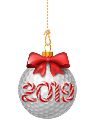 Golf ball christmas baubles with candy cane numbers of 2019 new year holiday. Vector isolated illustration on white background Stock Illustratie