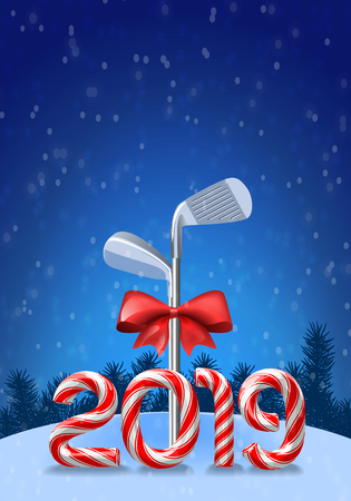 Golf irons tied with a red bow with candy cane numbers of 2019 new year holiday. Vector  illustration on snowy background
