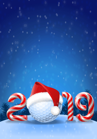 Golf ball with santa hat on it  with candy cane numbers of 2019 new year holiday on blue snowy background. Vector illustration