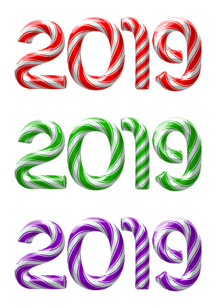 Various colors of candy cane numbers of 2019 new year holiday on white background. Vector isolated illustration Illustration