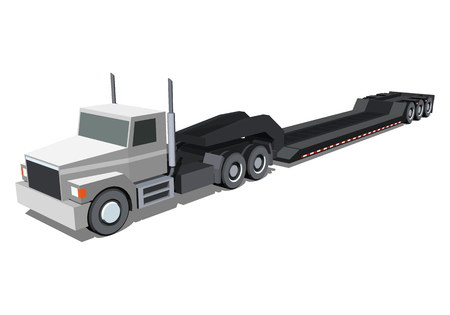 Minimalistic icon lowboy loader trailer truck front side view. Semi trailer tractor vehicle. Vector isolated illustration.