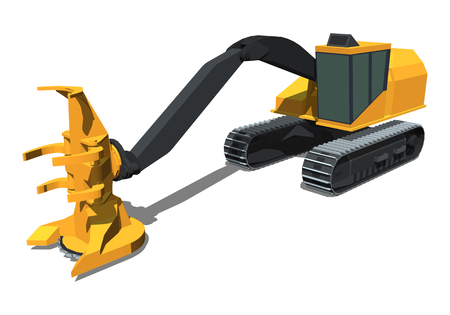 Minimalistic icon tracked feller buncher front side view. Feller vehicle. Modern vector isolated illustration.