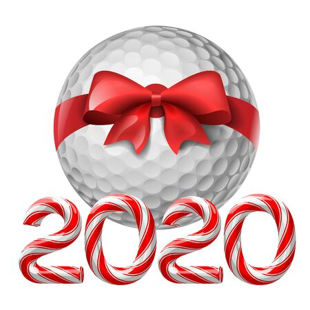 Golf ball tied with a red bow with candy cane numbers of 2020 new year holiday. Vector isolated illustration on white background