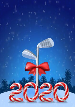 Golf irons tied with a red bow with candy cane numbers of 2020 new year holiday. Vector  illustration on snowy background