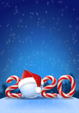 Golf ball with santa hat on it  with candy cane numbers of 2020 new year holiday on blue snowy background. Vector illustration
