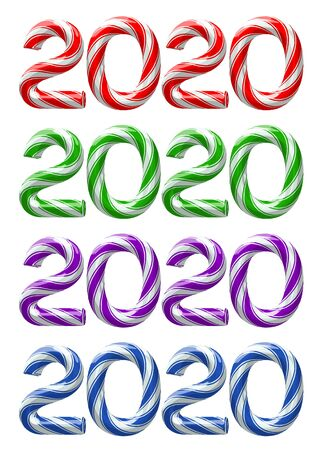 Various colors of candy cane numbers of 2020 new year holiday on white background. Vector isolated illustration Иллюстрация