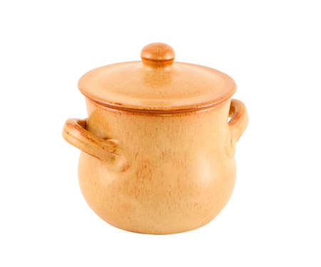 Pot from clay with a cover for food on a white background  photo