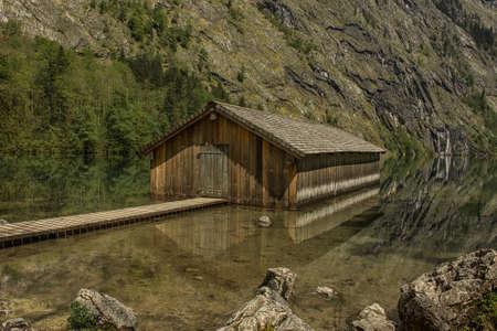 boat dock: Boat dock hangar at Obersee Berchtesgaden Germany Bavaria