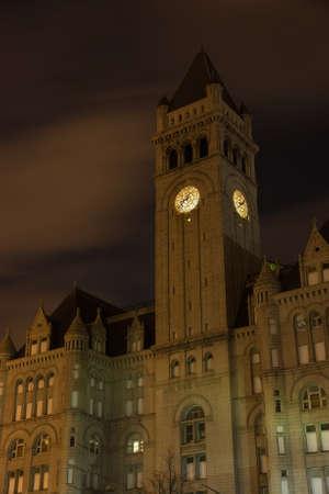Old Washington post office clock tower at night