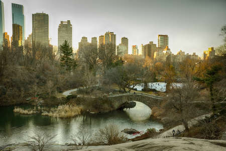 central park: New york central park at sunset Stock Photo