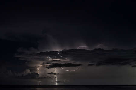similan islands: Lightning strike over the Andaman sea near Similan islands