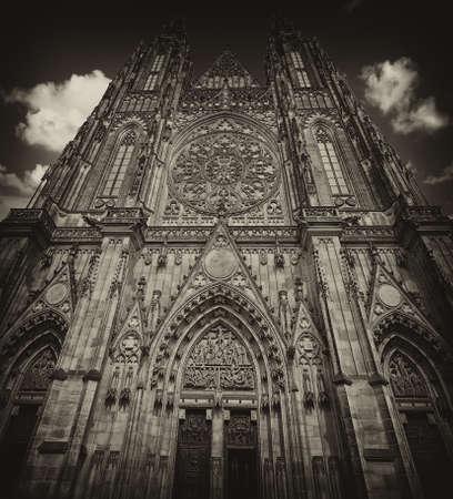 Front side of Prague saint Vitus cathedral